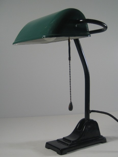 bankers lamp with dark green shade emaille