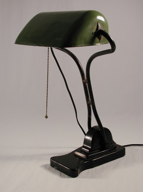 bankers lamp with iron stand and tin shade