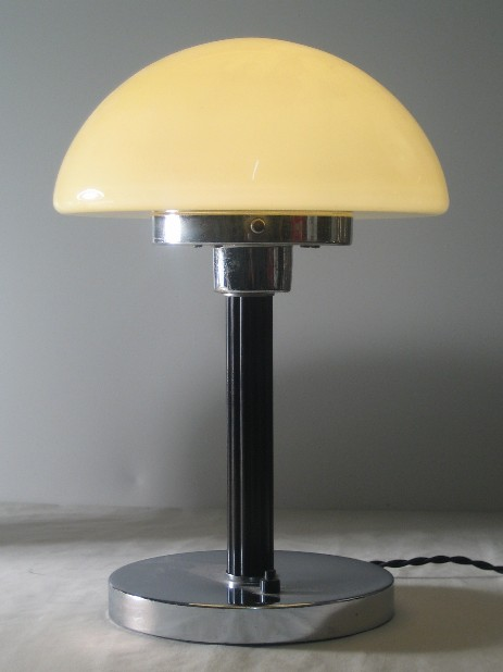 art döco mushroom lamp bakelite glass chrome