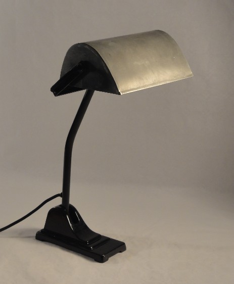 bankers lamp with emaille stand and tin shade art nouveau original