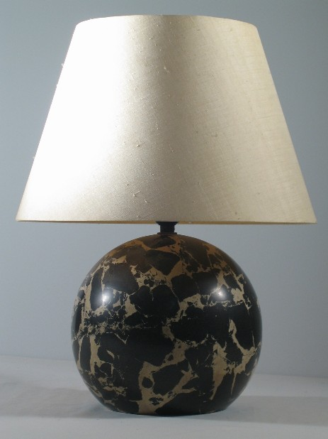 modernist stone bulb lamp stand silk shade 1920