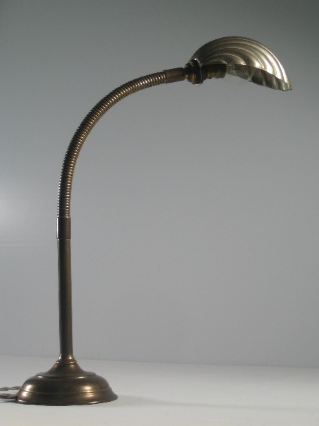 special art nouveau table lamp shell shade flexarm WW I