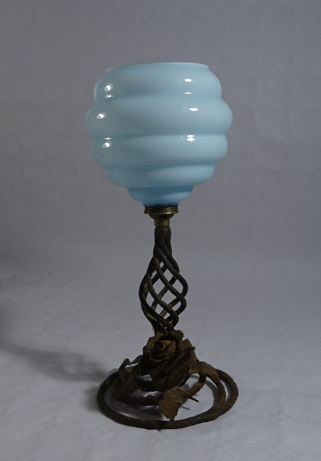 art nouverau table lamp blue glass wrought iron decorated with flowers