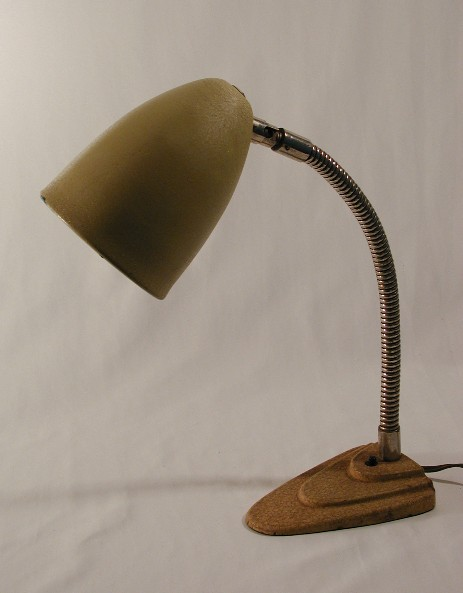 small typical art deco table light flex arm metal shade