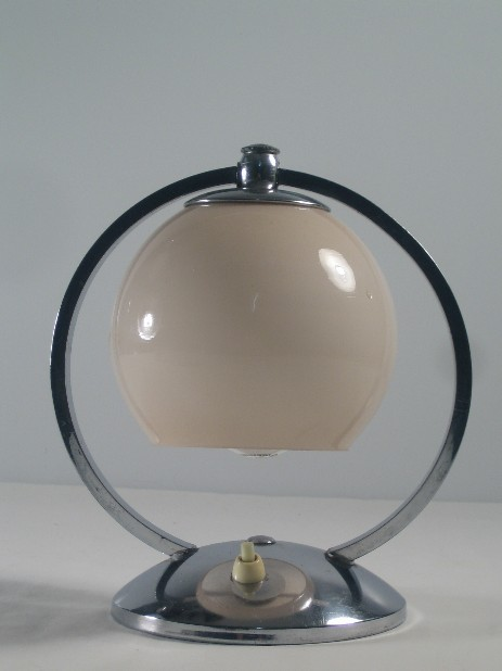 art deco bedside lamp opal glass chrome stand