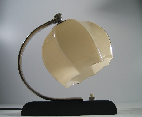 art deco orignal wooden stand glass bedside light 1930