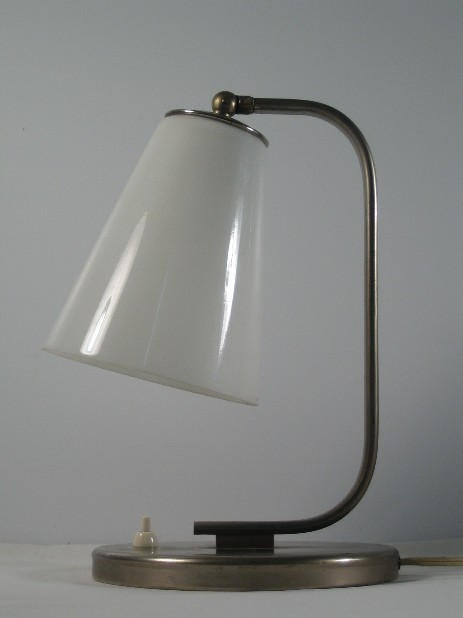 beautiful modernist art dec table lamp opal glass shade nickel stand