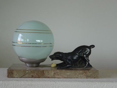 art déco veilleuse irish setter bronce glassglobe 1930 original