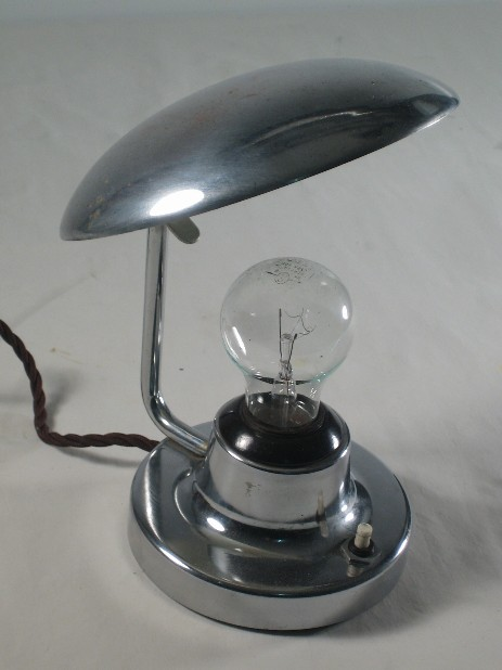 small chrome art deco mushroom table lamp Josef Hurka cechoslovakia