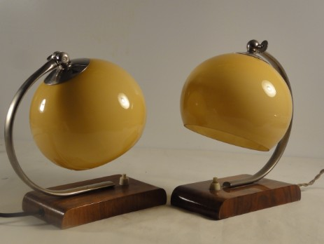 pair of original art deco bedside lamps wooden stand opal glass shade