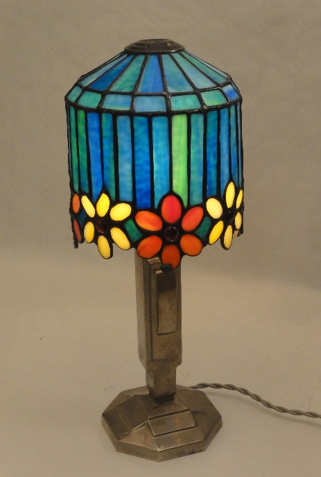 art déco table lamp with tiffany style shade