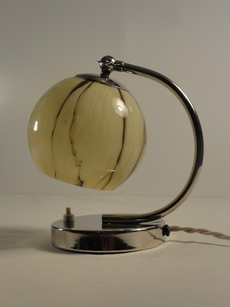 typical art deco bedside lamp glass globe nickelstand