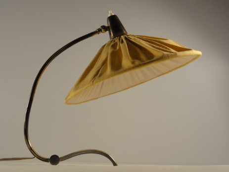 brass table lamp with nice shape and textile shade 50's