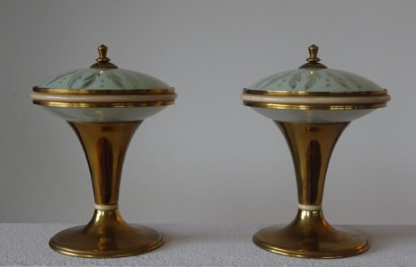 pair of small stilnovo style italian design lamps fifties