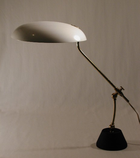 beautiful fifties table lamp with large shade white arredoluce