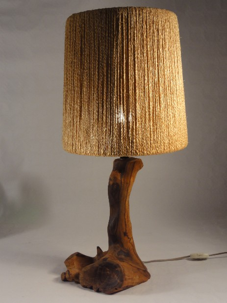 fifties sisal shade on olive wood lamp stand