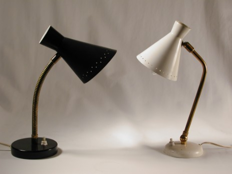 black and white cone head 50's lamps original metal flexarm
