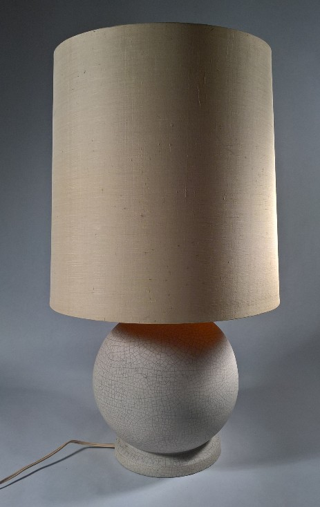 original ceramics table lamp globe white 1950 sixties vintagelamps