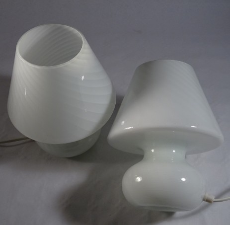 pair of murano swirlglass mushroom lamps 60's