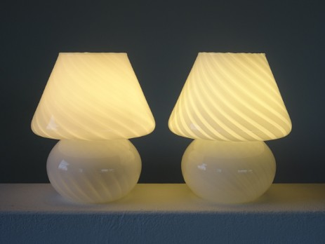 pair small murano mushroom swirlglass lamps sixties