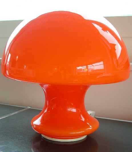 big murano opal glass mushroom tablelamp 1960