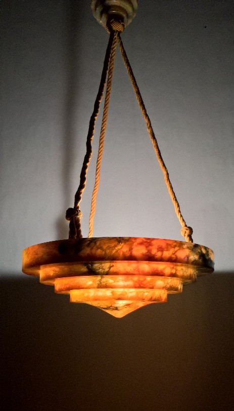 art deco alabaster hanging lamp amber