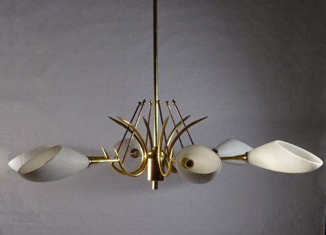 crown ceilig lamp brass sputnik opaglass