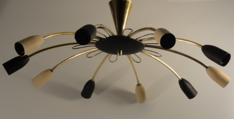 sputnik fifties design ceilinglamp brass black white metal