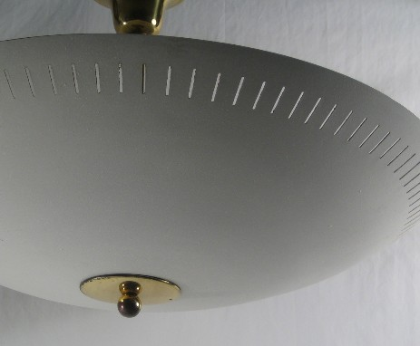typical fifties design ceiling lamp metall white brass