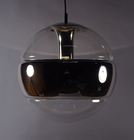 70's design big glas globe space age hanging lamp silver chrome ring vintage