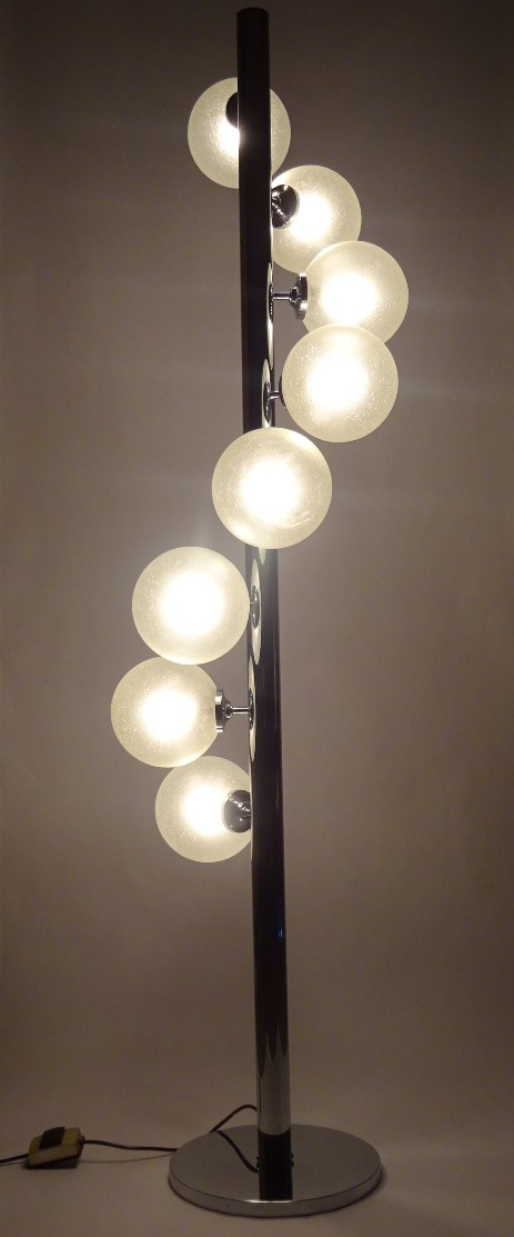 grosse chrom standing lamp with 8 glass bulbs 1965