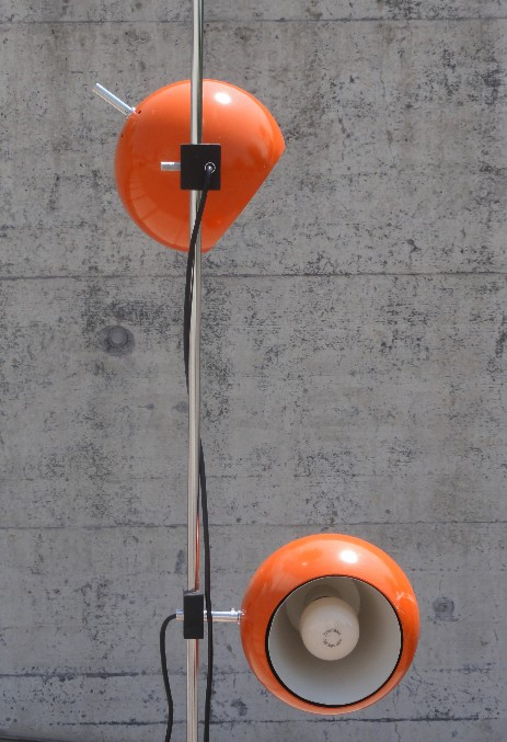 original orange globe spotfloor lamp seventies